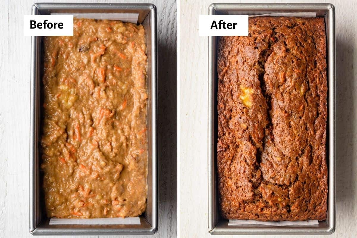 2 image collage to show the bread before and after baking
