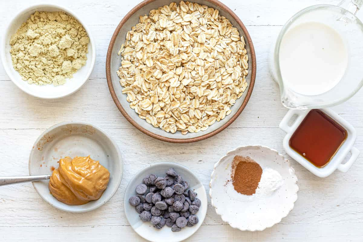 Ingredients to make oatmeal chocolate chip cookie version