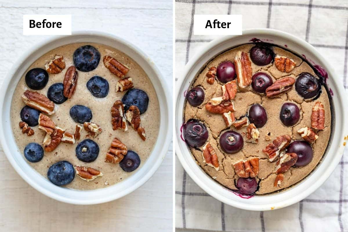 2 image collage showing blueberry muffin baked oats before and after baking