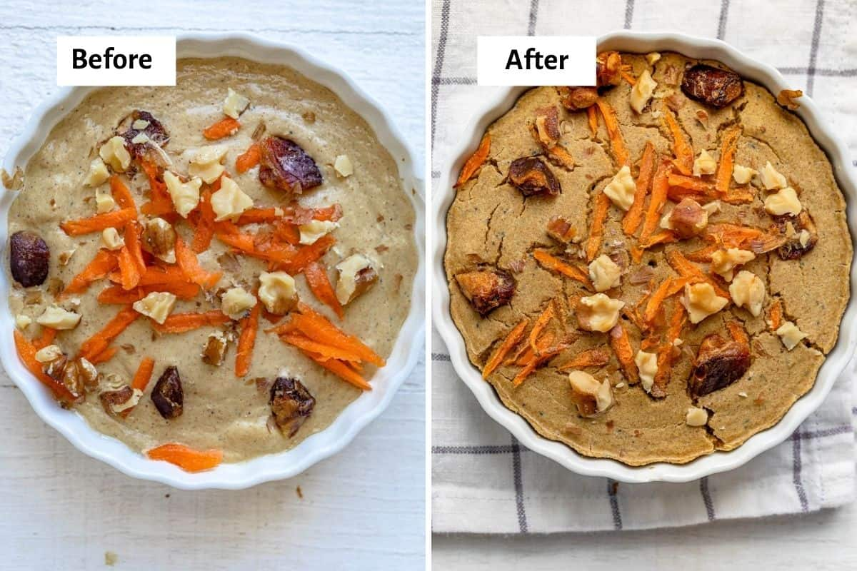 2 image collage showing carrot cake baked oats before and after baking