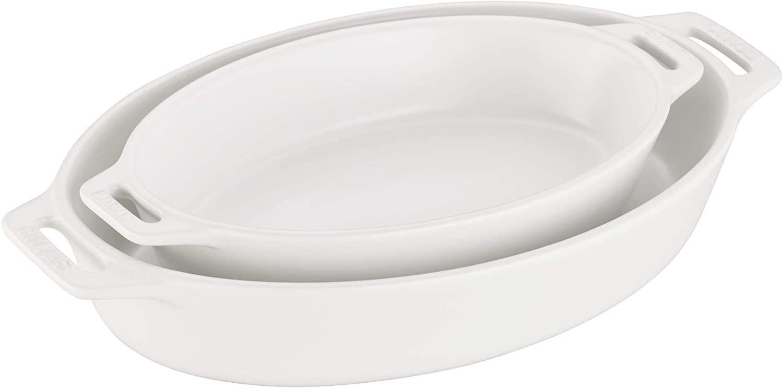 STAUB Ceramics Oval Baking Dish Set, 2-piece, Matte White