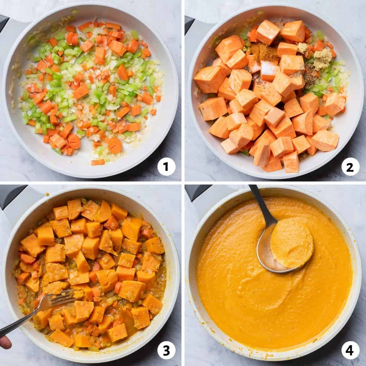 4 image collage to show how to make the soup recipe
