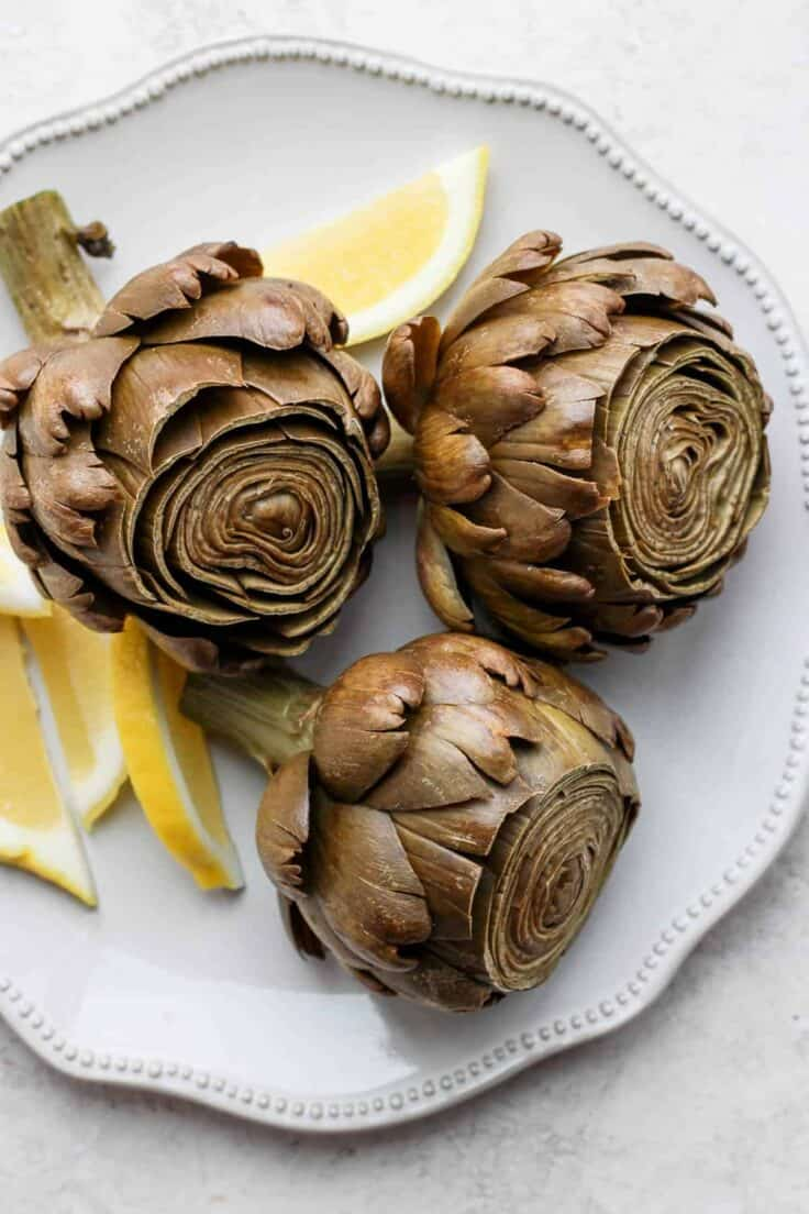 Final plated steamed artichokes