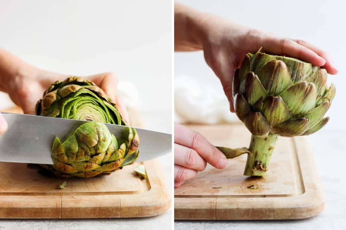 2 image collage to show how to cut the artichoke and remove the outer leaves