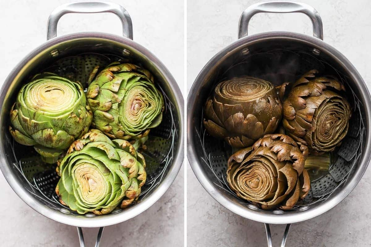 2 image collage to show how to steam artichokes