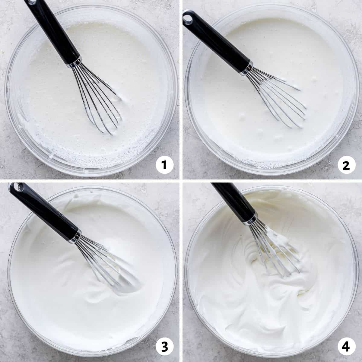 4 image collage for how to make whipped cream
