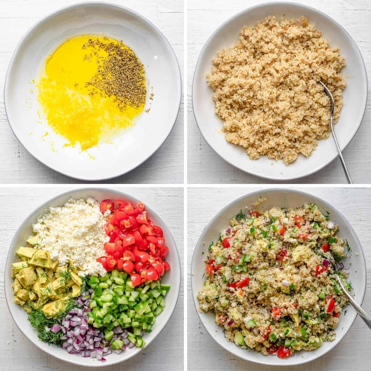 4 image collage to show how to assemble the salad