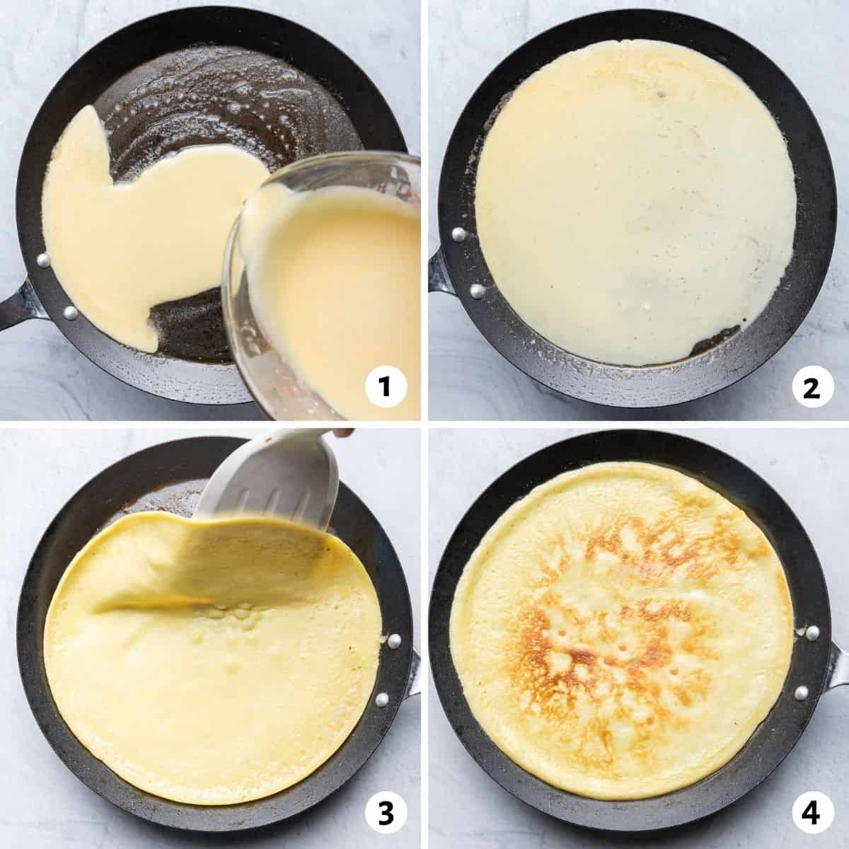 4 image collage to show how to make the recipe in a non-stick skillet