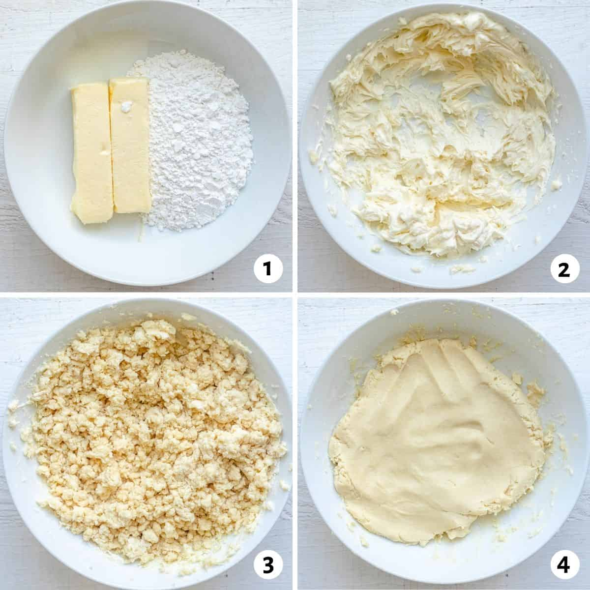 4 image collage to show how to make the cookie dough for ghraybeh