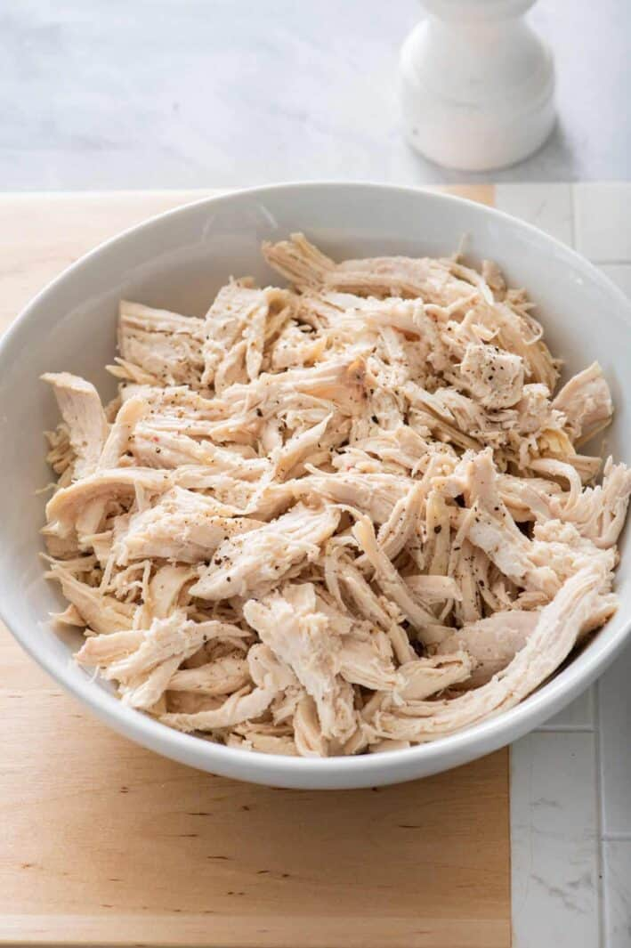 Bowl for shredded chicken after cooking in instant pot