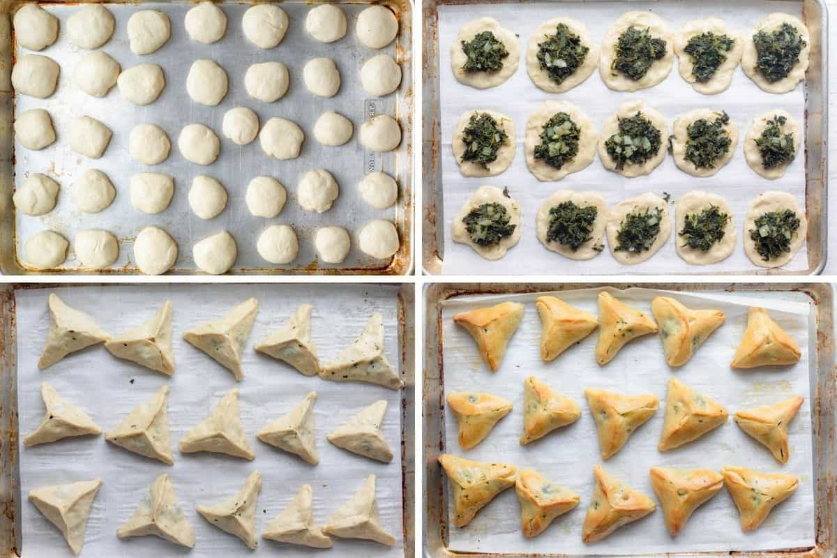 4 image collage to show how to assemble the dough