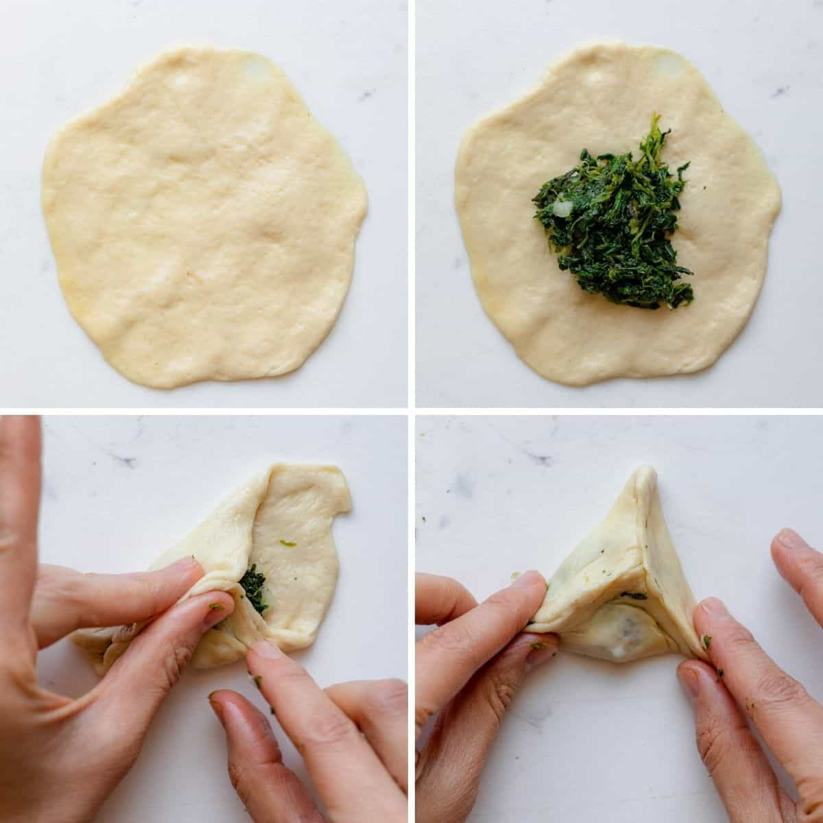 4 image collage to show how to stuff and fold the spinach pie