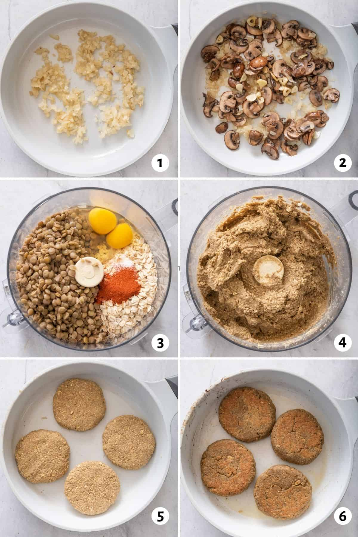 6 image collage to show the steps to make the recipe