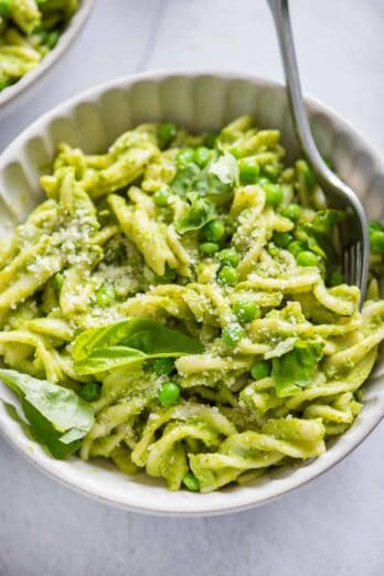 Bowl of pasta with peas