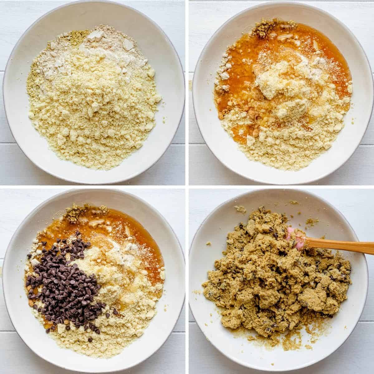 4 image collage to show how to make the protein balls
