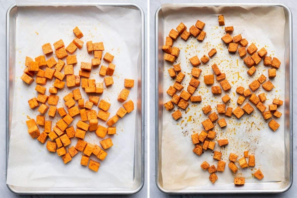 2 image collage of sweet potatoes before and after baking