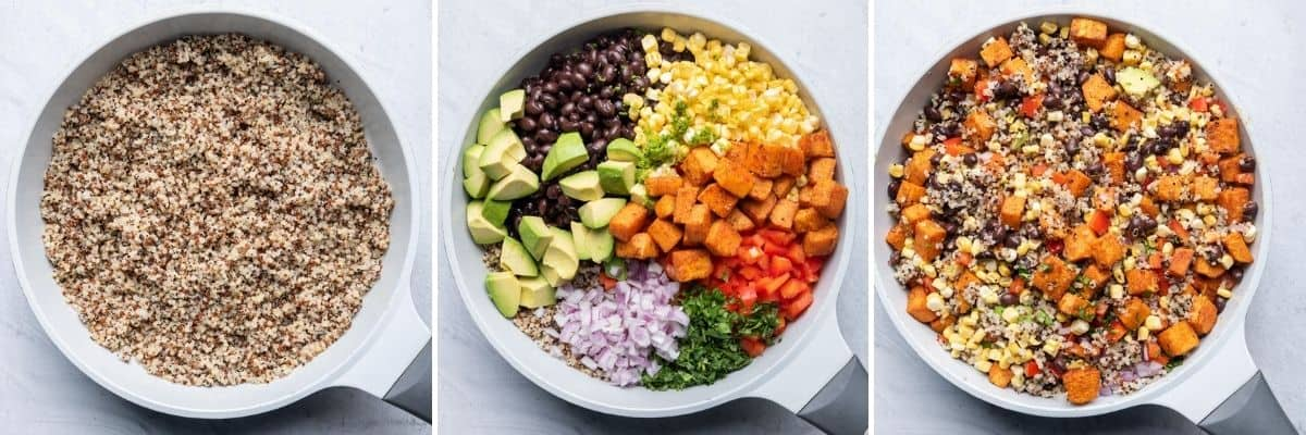 3 image collage of assembling the salad, first with the quinoa, then the vegetables and the tossing everything together