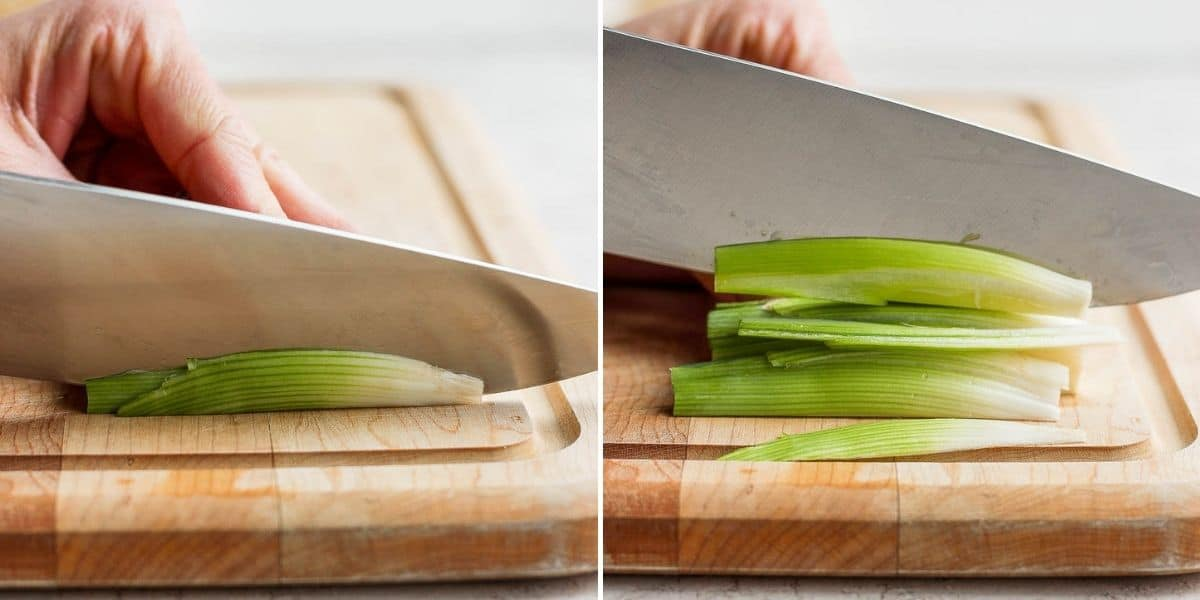2 image collage to show how to julienne cut leeks