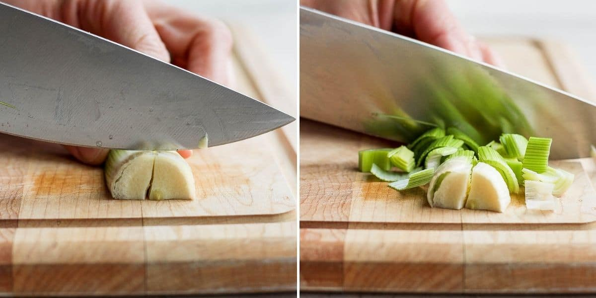 2 image collage to show how to dice cut leeks