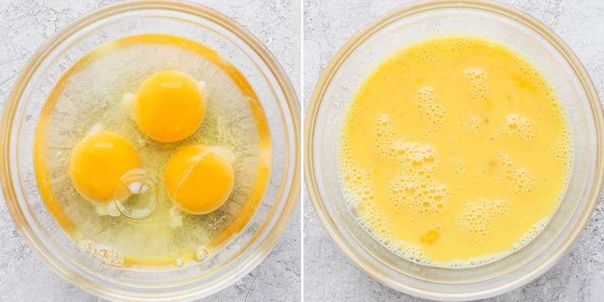 2 image collage to show how eggs and water before whisking