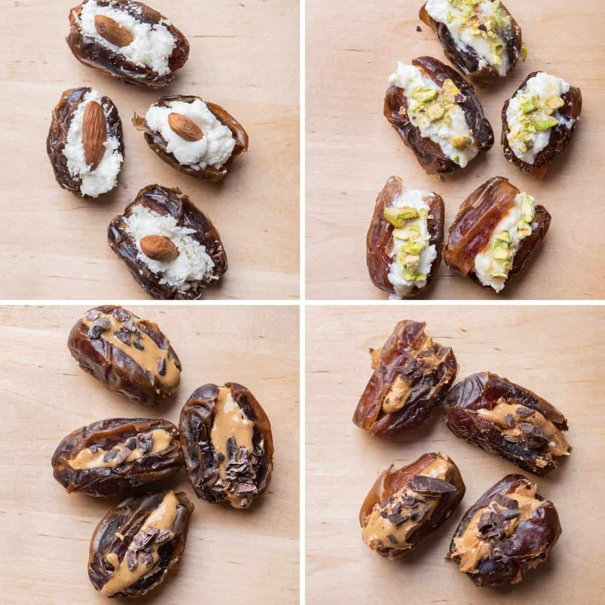 4 image collage to show four types of stuffed dates