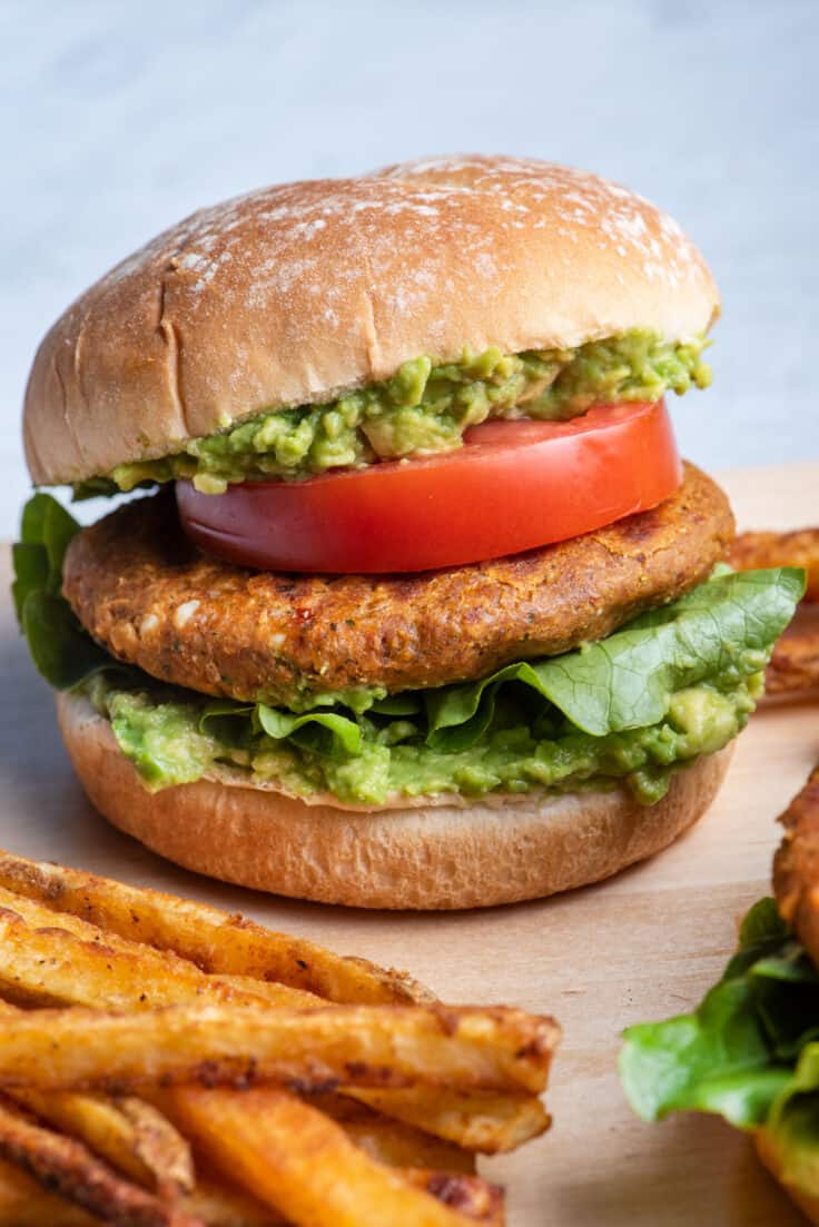Chickpea burger - vegetarian and served with fries