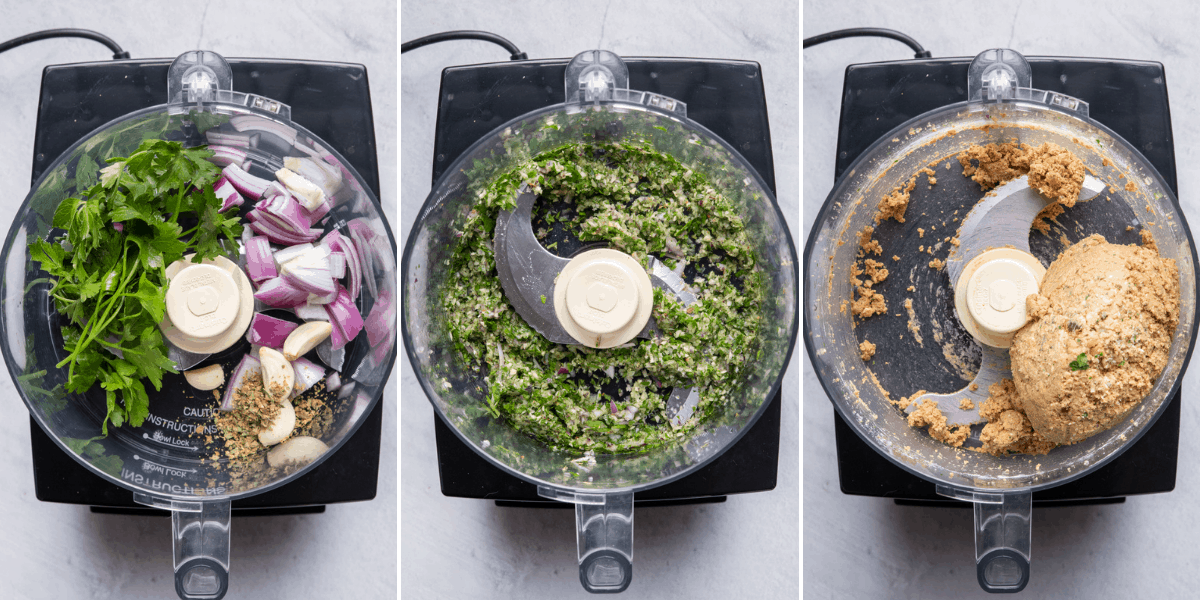 3 image collage to show how to make the patty in a food processor