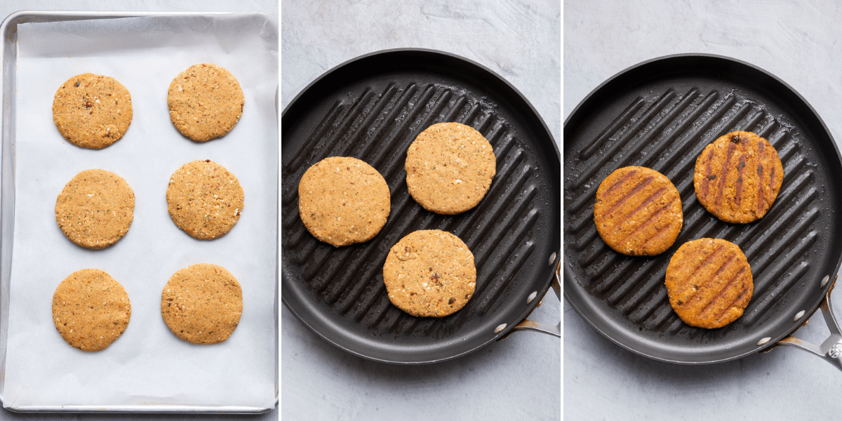 3 image collage to show forming the patty, cooking on a skillet, then final cooked patties