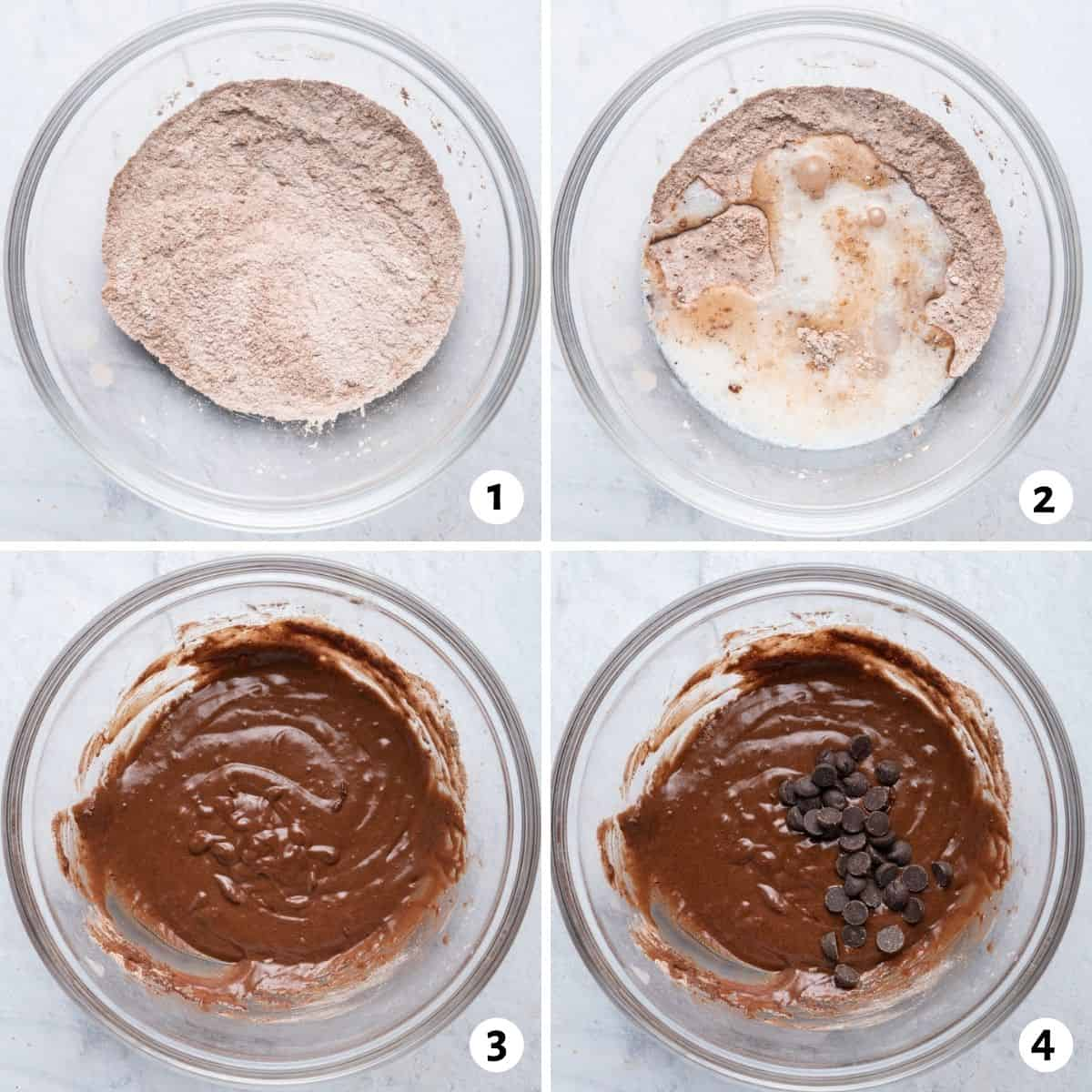 4 image collage to show how to mix the dry and then the wet ingredients in one bowl