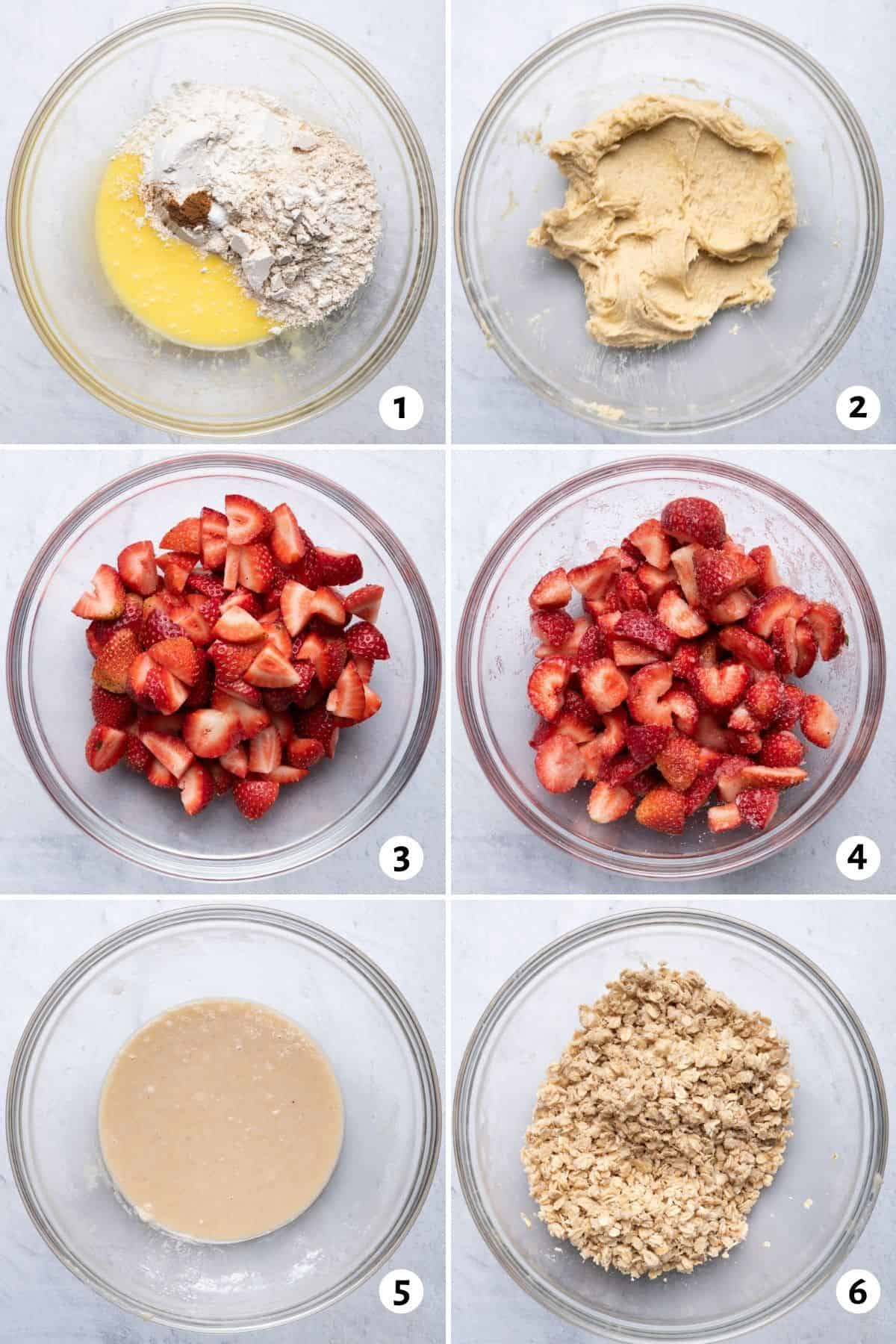 6 image collage to show how to make the layers: the base, the strawberries and the crumble