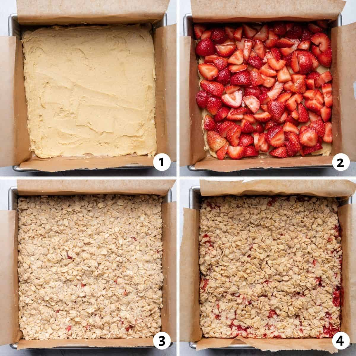 4 image collage to show how to layer the base, strawberries and the crumble and the final baked bars