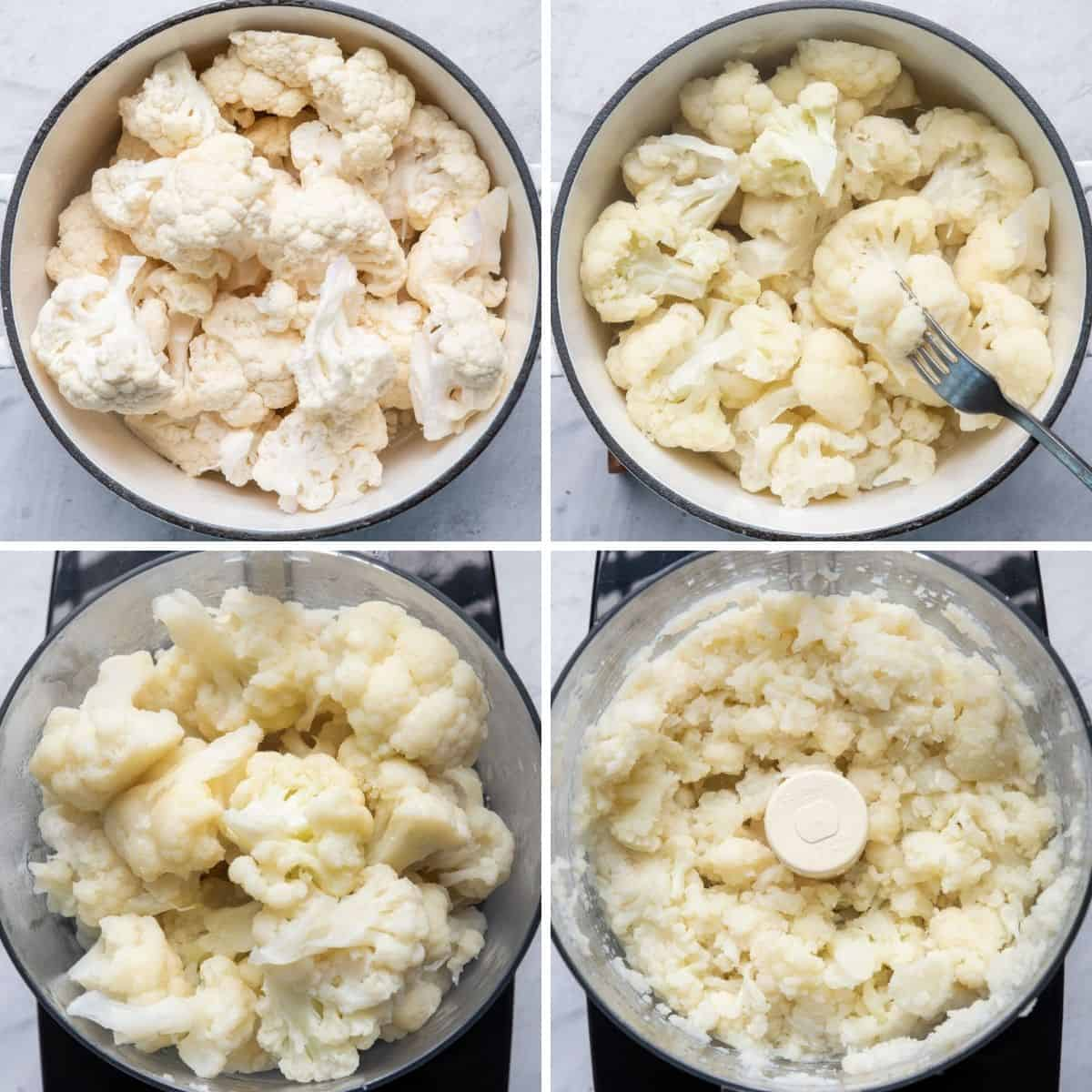 4 image collage to show cauliflower in pot, then getting cooked, then in food processor, then after pulsing in food processor