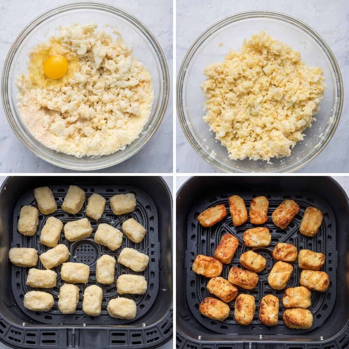 4 image collage to show bowl of ingredients before mixing, after mixing, tater tots formed and placed in air fryer before and after cooking