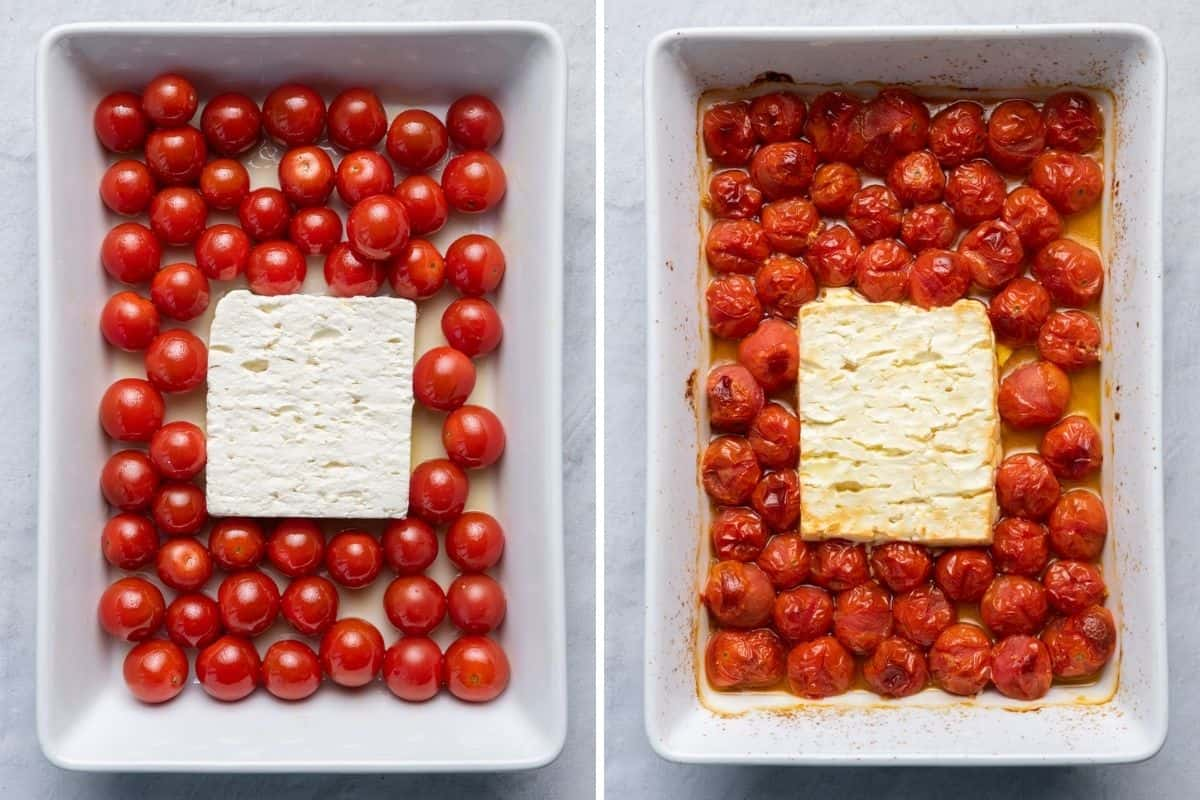 2 image collage of feta cheese and cherry tomatoes before and after baking