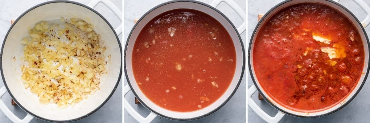 3 image collage of a pot with onions cooking, then the broth and tomato sauce and then the baked feta and roasted tomatoes added