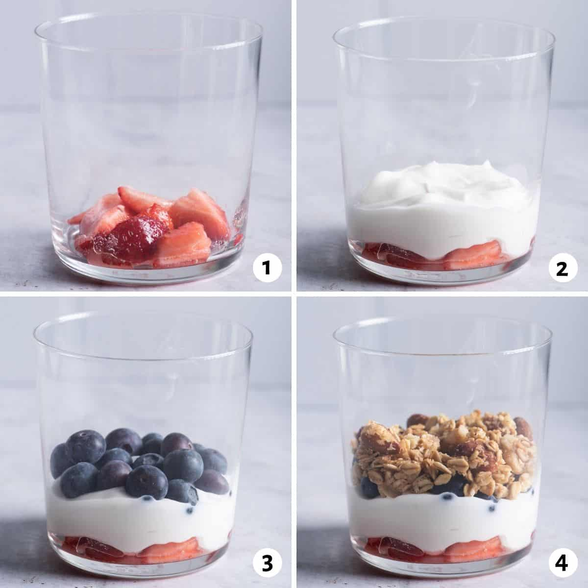 4 image collage to show how to assemble the parfait