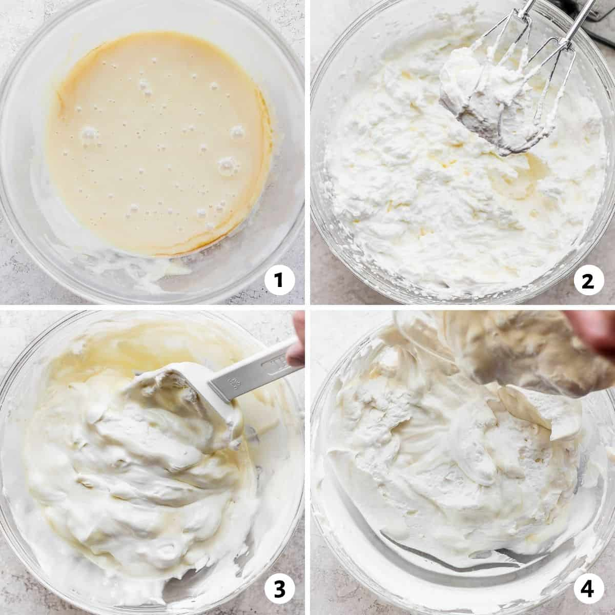 4 image collage to show how to make homemade ice cream