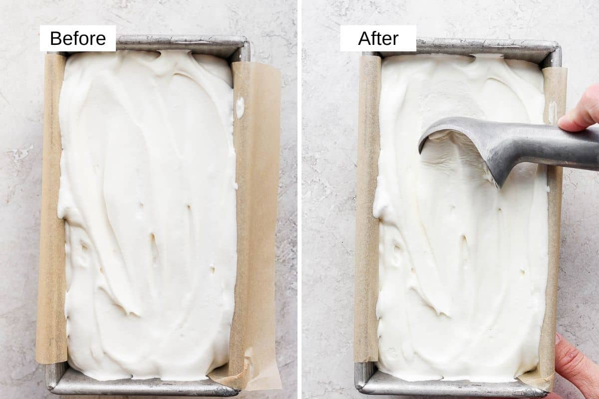 2 image collage to show the homemade ice cream before and after frozen