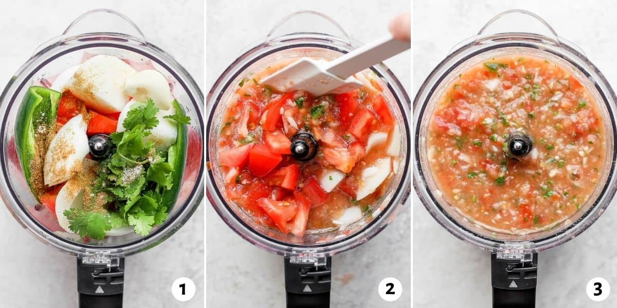 3 image collage to show how to make the salsa from scratch