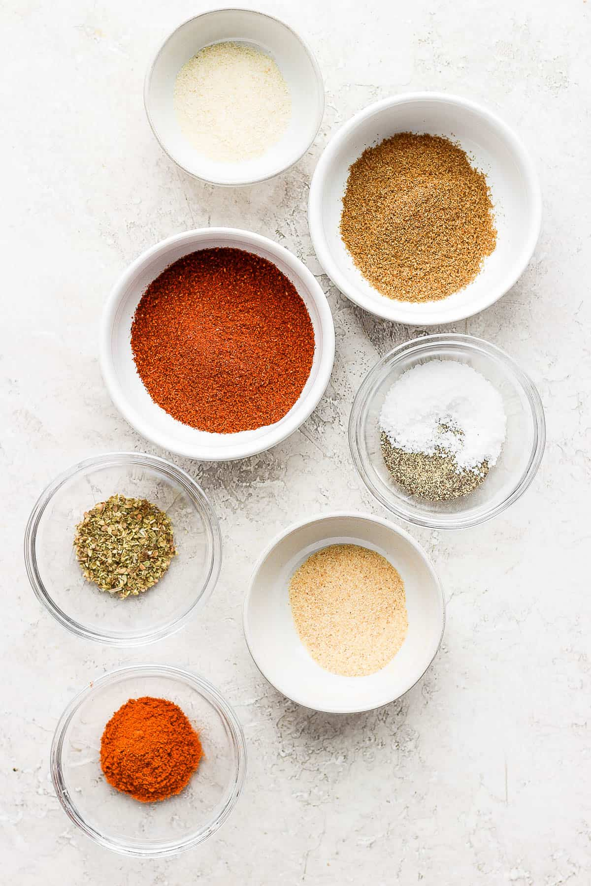6 spices for making taco seasoning plus salt and pepper
