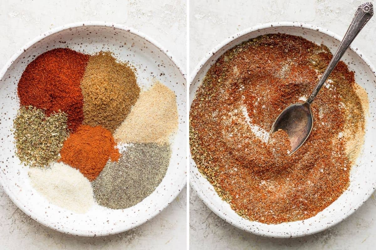 Taco seasoning in a bowl before and after mixing