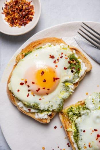 Pesto eggs on sourdough bread