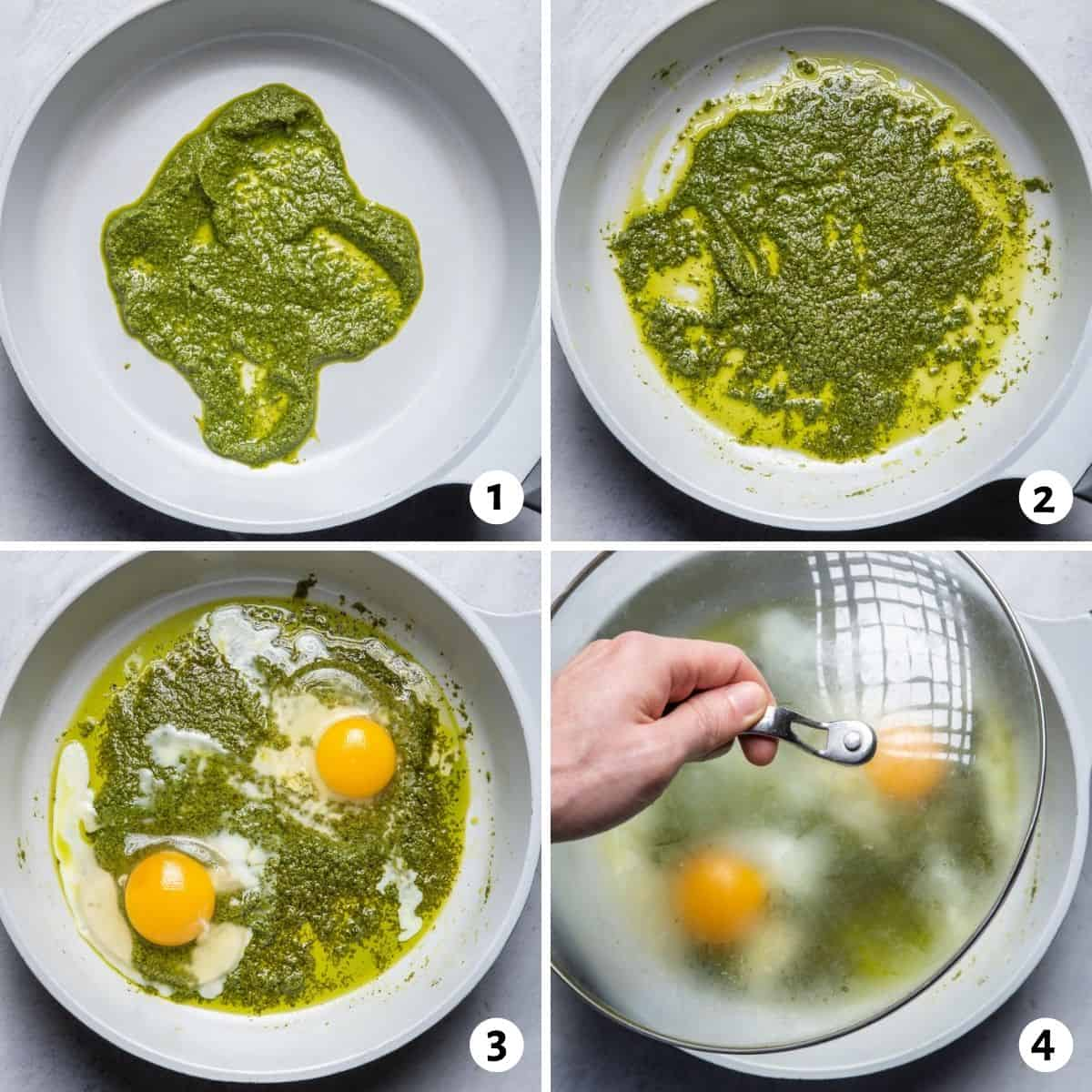 4 image collage to show how to prepare the recipe in a skillet