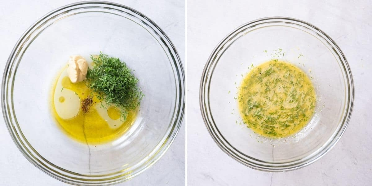 2 image collage to show the dressing ingredients before and after mixing