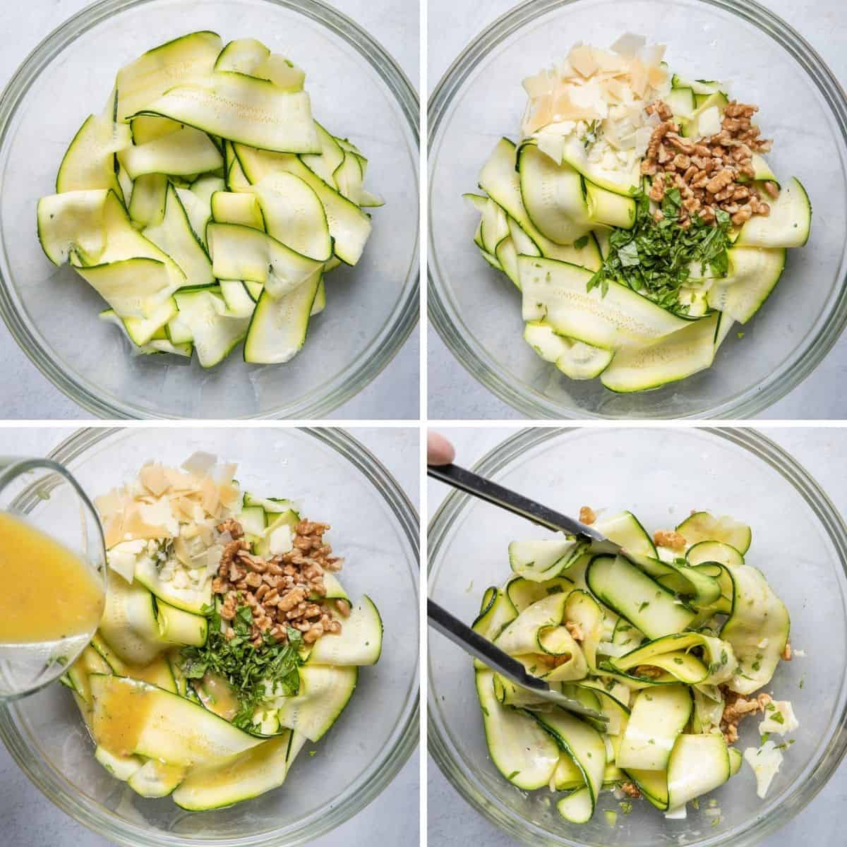 4 image collage to show the zucchini shaved in a bowl, ingredients getting added, olive oil getting added and then the salad getting tossed