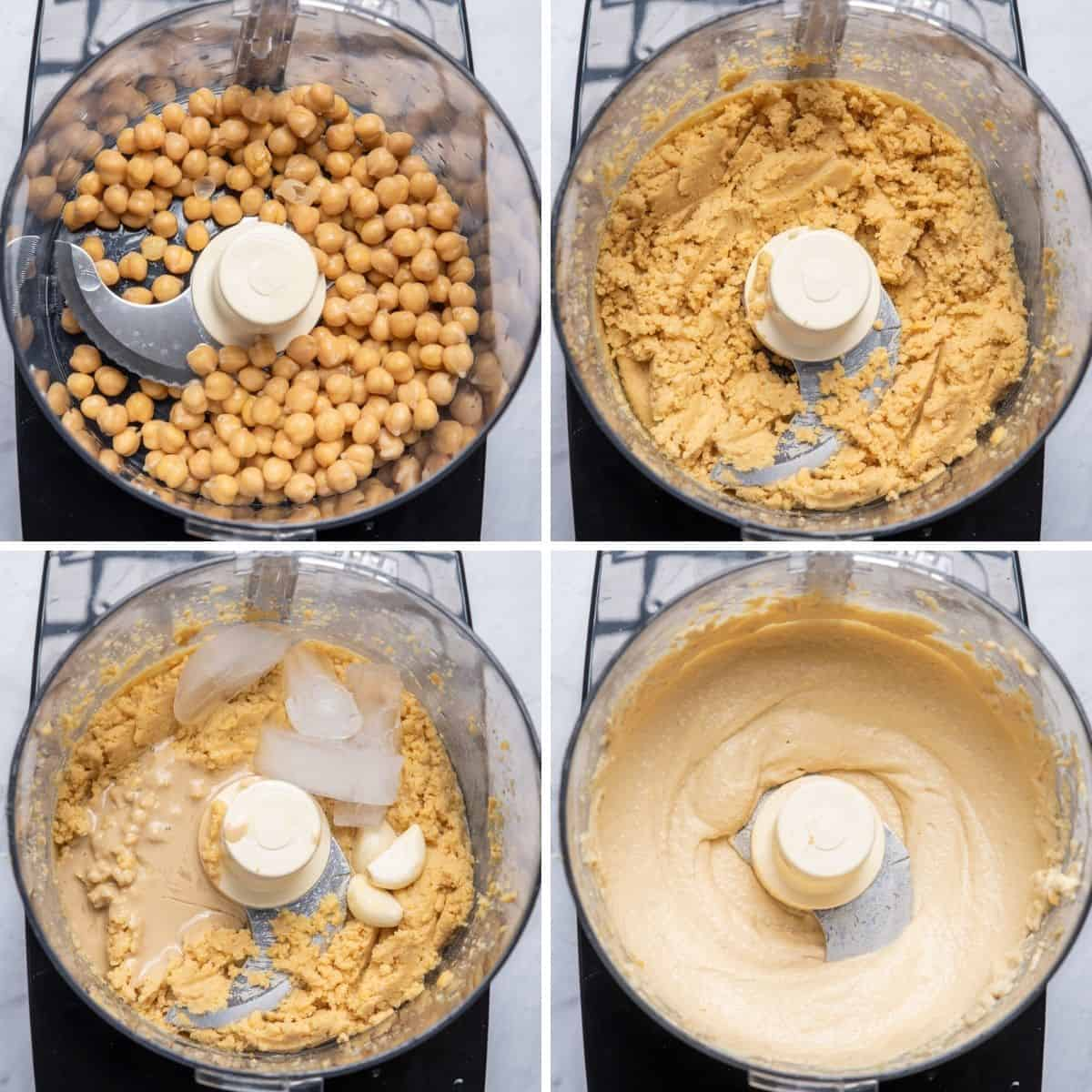 4 image collage to show how to make hummus