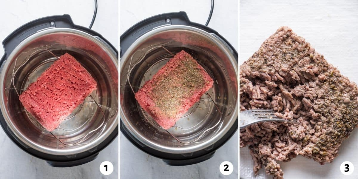 3 image to collage to show the ground beef in the instant pot, then with seasoning and then breaking apart with fork