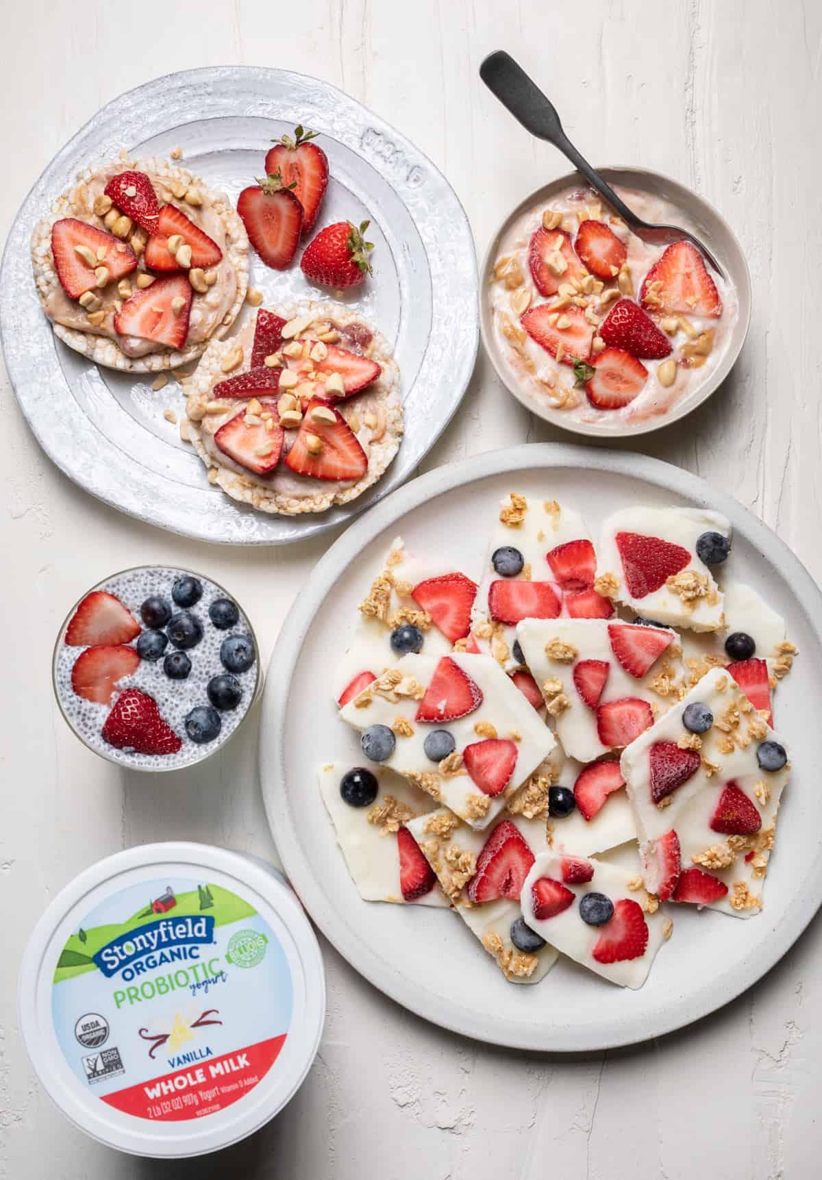 Variety of berry and yogurt snacks with tub of Stonyfield yogurt