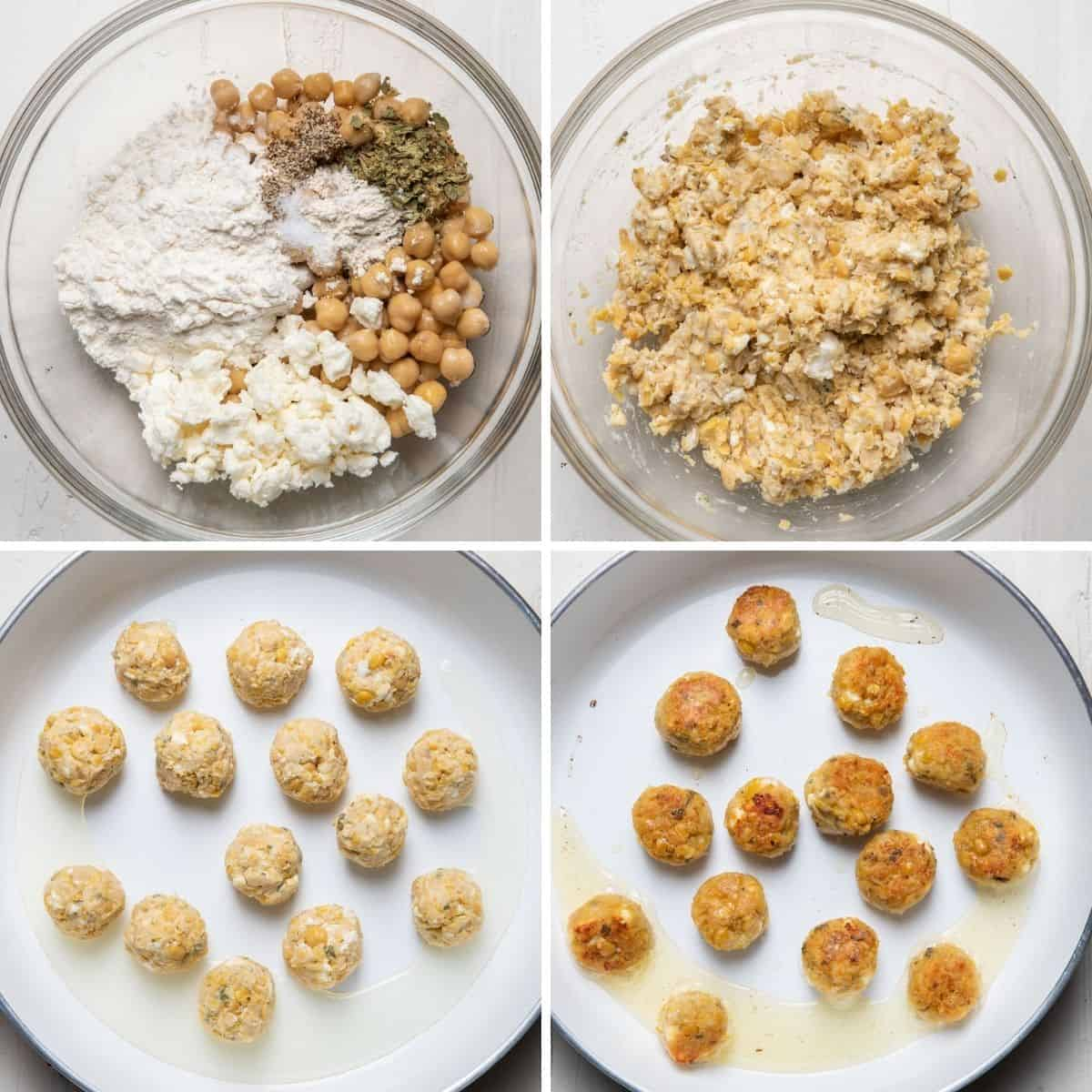 4 image collage to show the patty mixture in bowl before and after mixing, then the chickpea bites in the pan before and after cooking