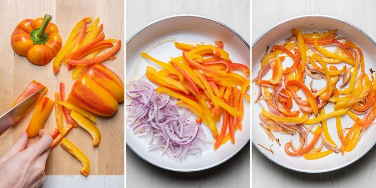 3 image collage to show how to cut the peppers and then cook them with onions